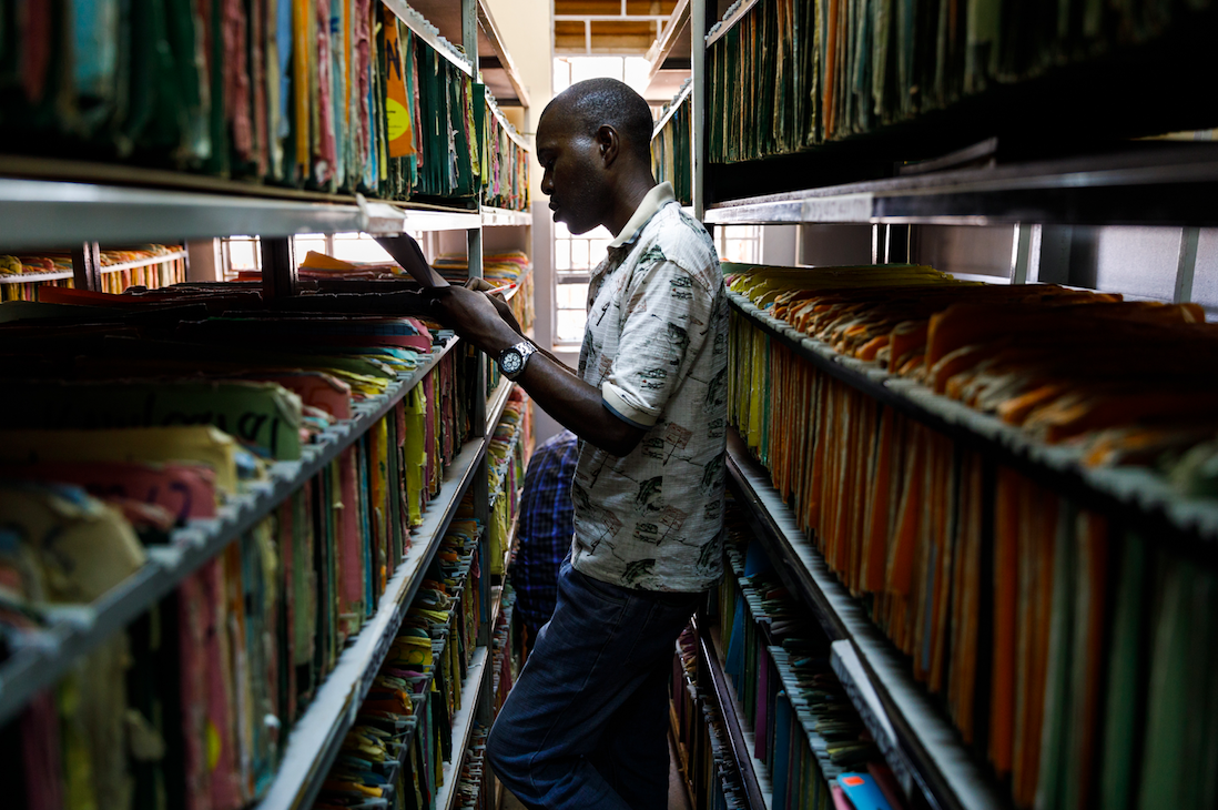 Medical records in an Ugandan facility